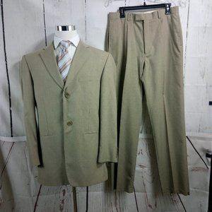 Haggar Enterprise 42L 2 Button Tan 2pc Suit 32W